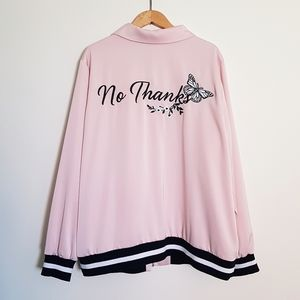 Love & Legend Pink Embroidered Zip Jacket